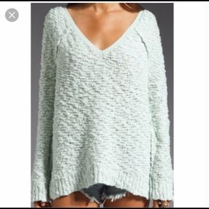 Free people mint songbird v-neck sweater